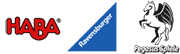 Logo Haba, Ravensburger, Pegasus Spiele